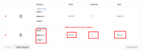 Variation Quantity in cart with price