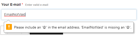2- Email input with invalid data