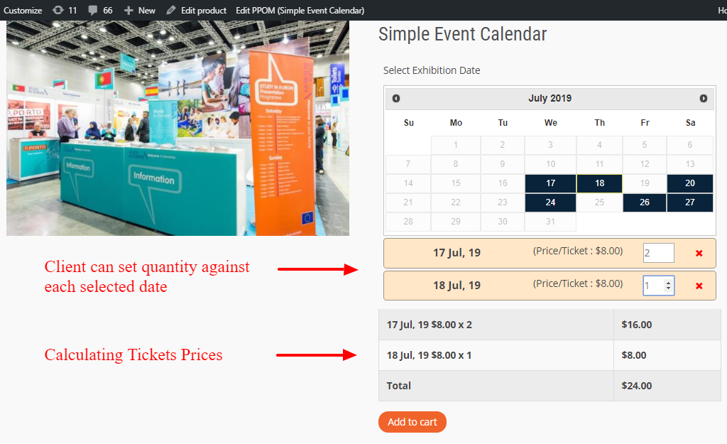 Events on Product Page