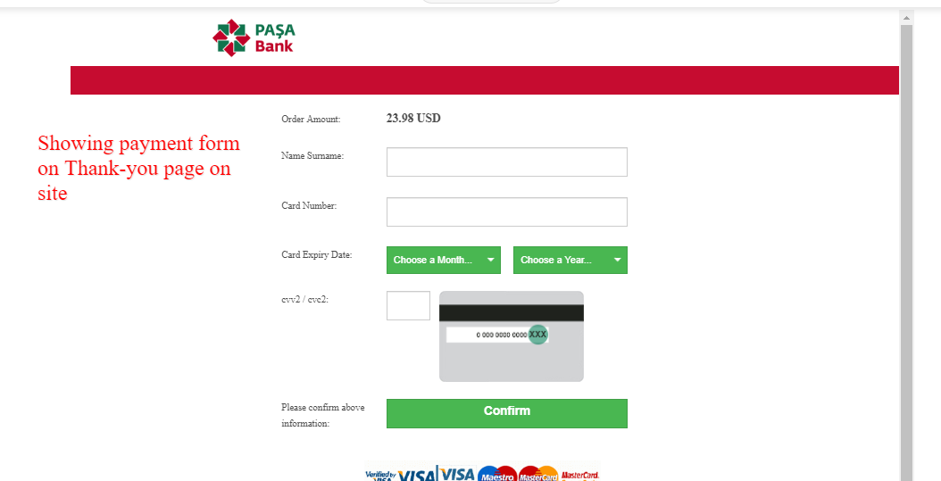 Payment Form On Site