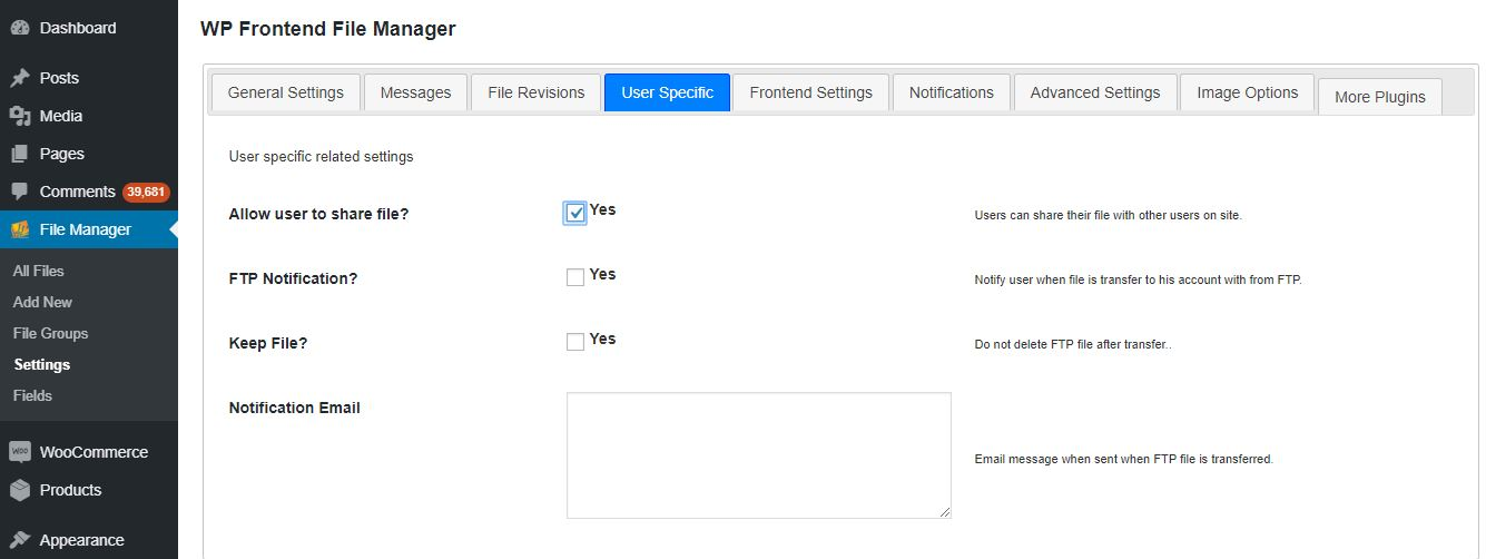 Enable User Specific Add-on after plugin activation